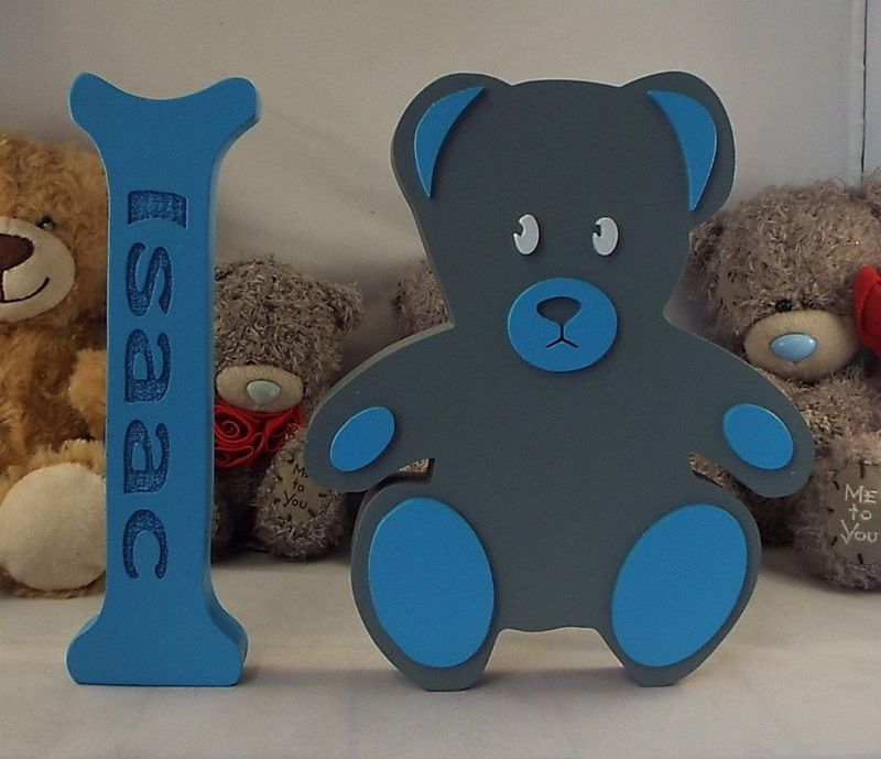 personalised teddy bear and large wooden letter baby shower birth nursery gift
